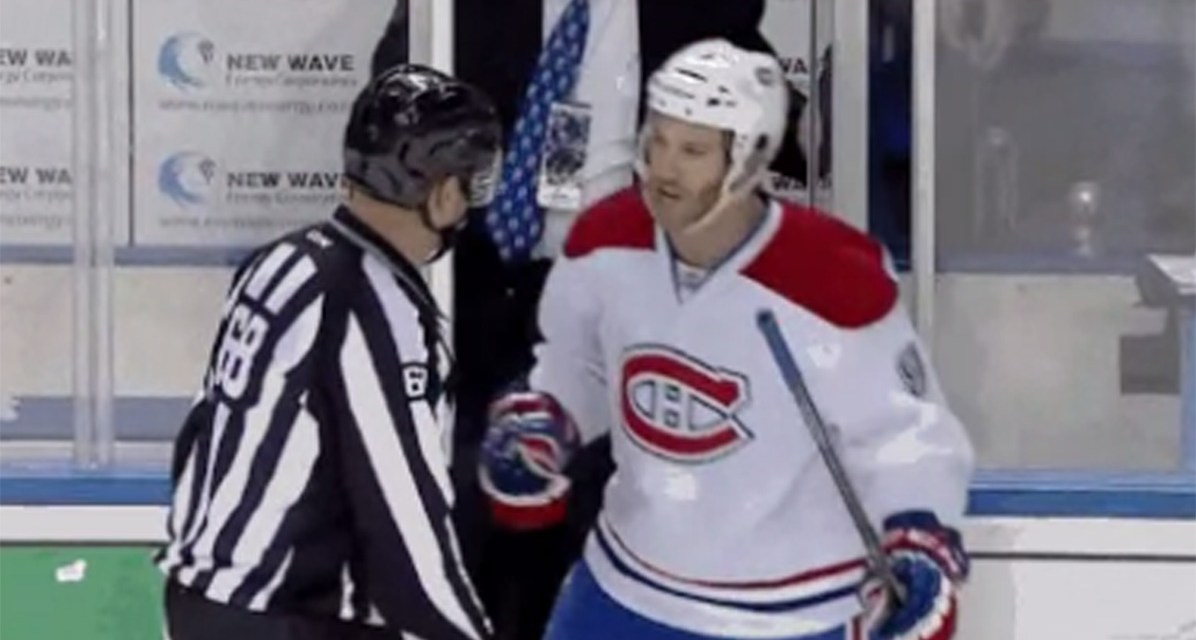 Habs' Prust Gets Game Misconduct for Yapping at Refs