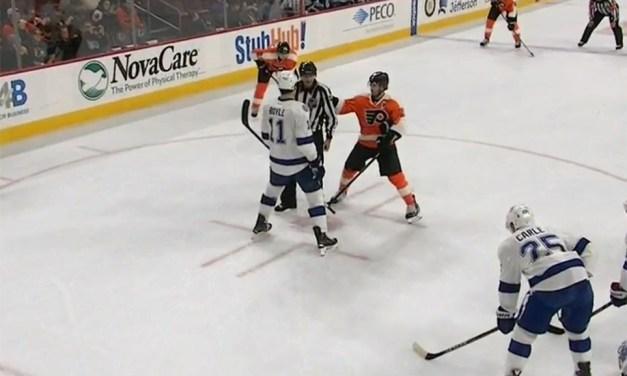 Flyers' Giroux Wipes Nose on Linesman Greg Devorski