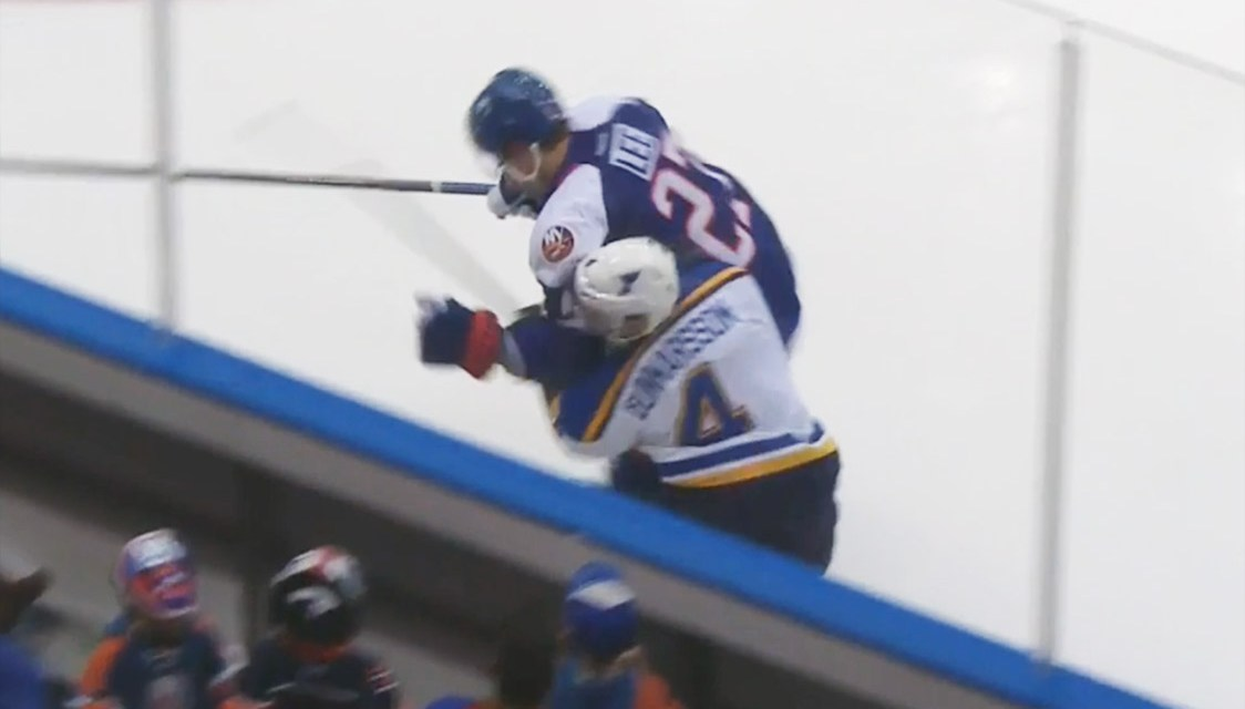 Islanders' Lee Awaits Hearing for Hit on Blues' Gunnarsson