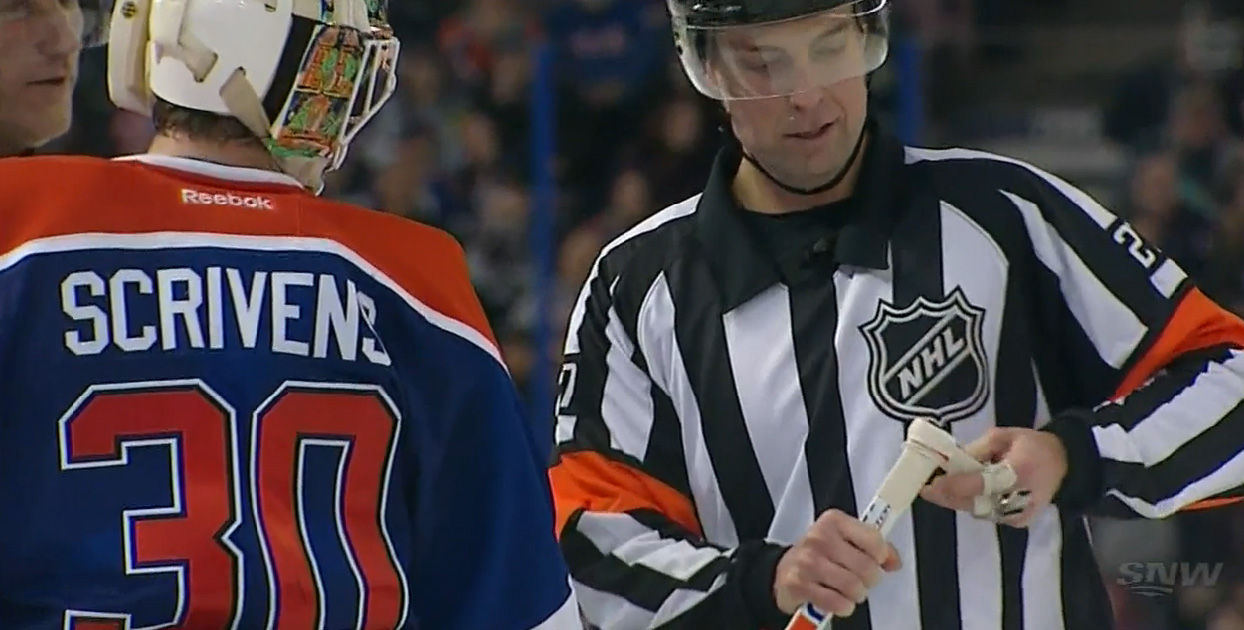 LA Kings Call Out Oilers' Scrivens for Illegal Knob