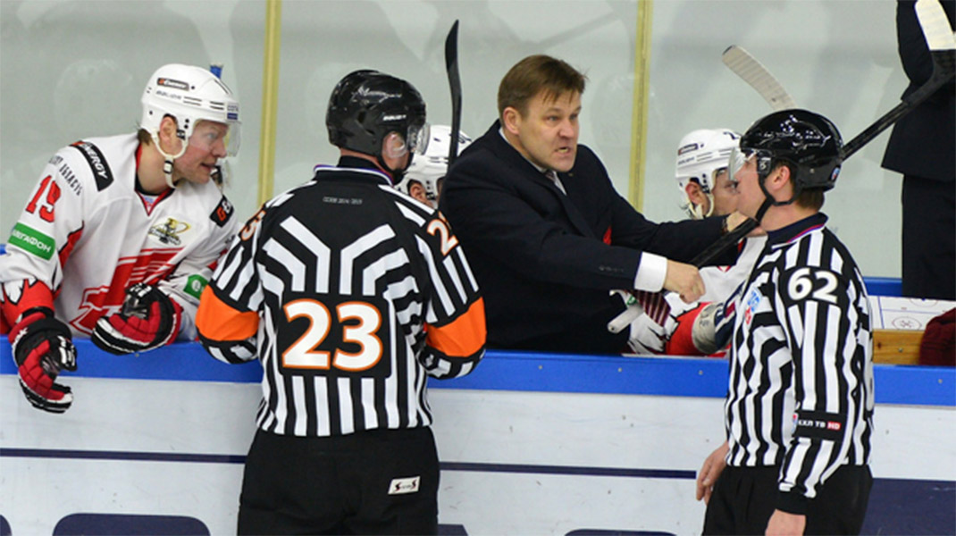 Angry KHL Coach Demonstrates Stick Penalties to Ref