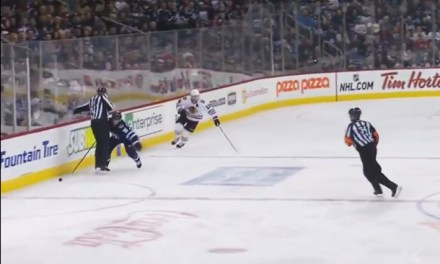 Jets Enstrom Loses Stick Behind Linesman, Hawks Score