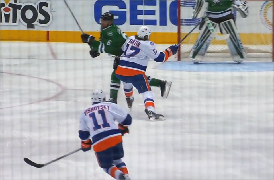 Islanders' Martin Suspended One Game for Kneeing Stars' Daley