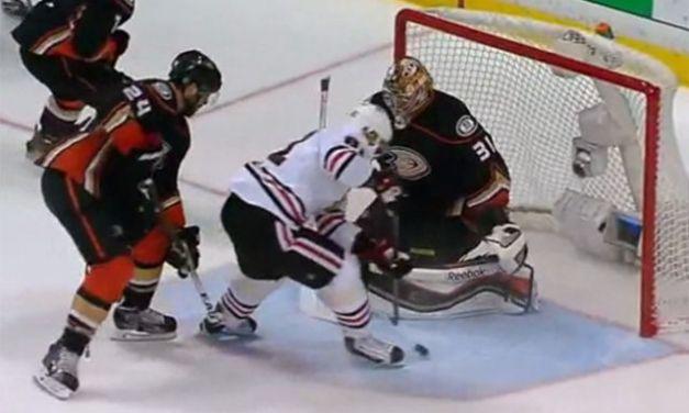 Hawks' Hossa Scores Game 7 Winning Goal With Skate