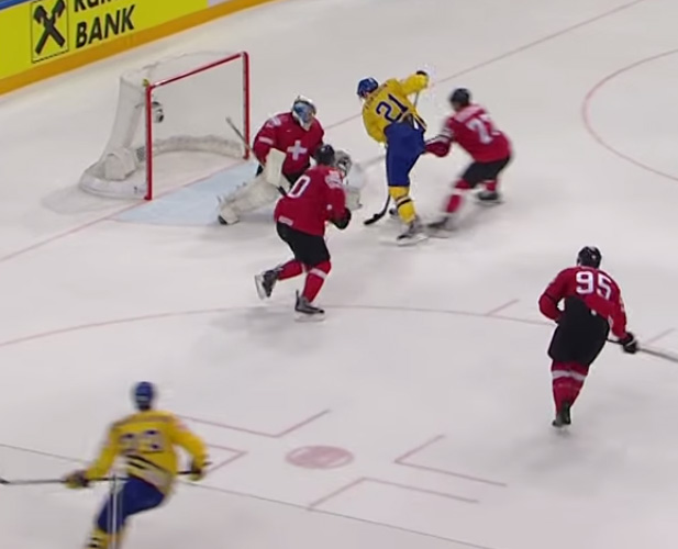 Swiss Penalty For Pushing Stick in OT Leads to Sweden's GWG