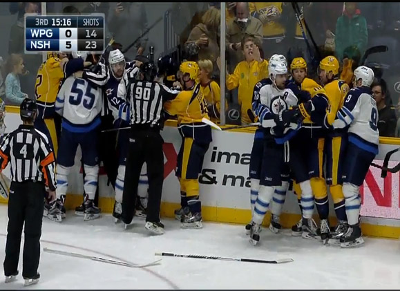 Jets, Preds Combine for Season-High 156 PIMs