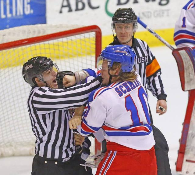 Referee Korey Chipperfield, then in the USHL