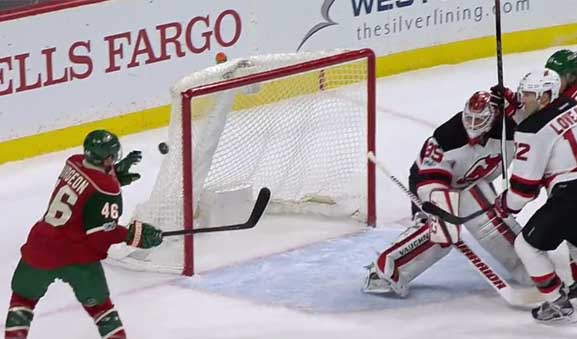Wild's Spurgeon Gloves Puck Out of Mid-Air, Scores