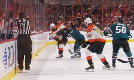 Linesman Michel Cormier Hit By Puck