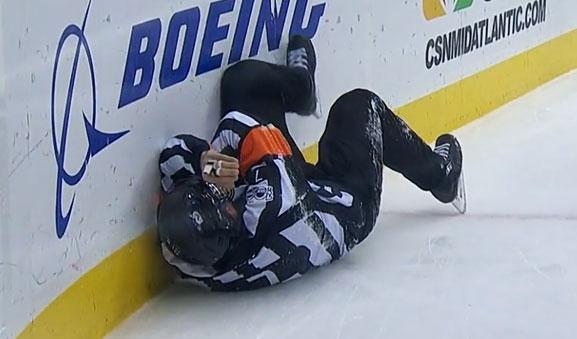 Referee Garrett Rank Hit By Ovechkin Shot