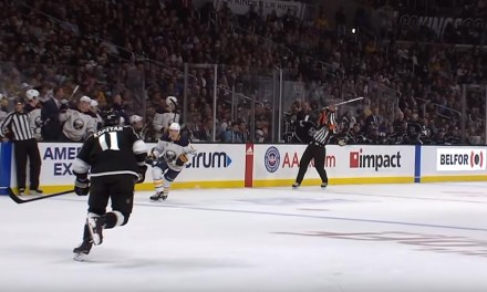 NHL Referee Francois St. Laurent Catches Flying Stick