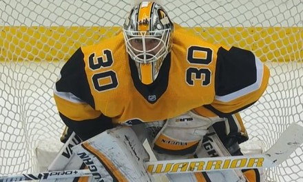Pens' Goaltender Matt Murray Delivers Crease-Clearing Check
