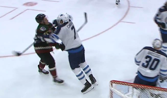 Jets' Chiarot Fined for Cross-Checking Coyotes' Cousins