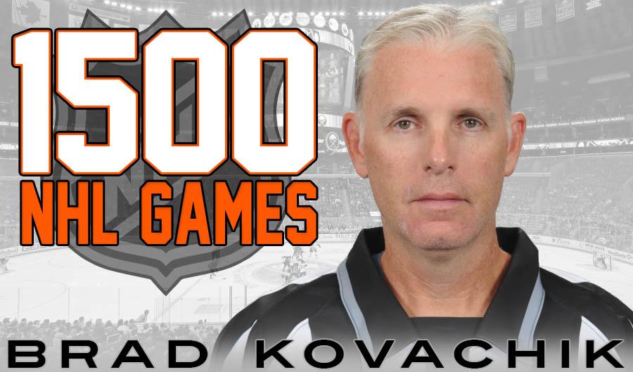 Linesman Brad Kovachik Honored on 1500 Games