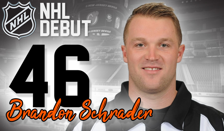 Referee Brandon Schrader to Make NHL Debut