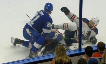 Oilers' Kassian Suspended Seven Games for Kicking Bolts' Cernak