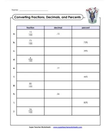 Fraction Decimal Percent Worksheet Scouting Web