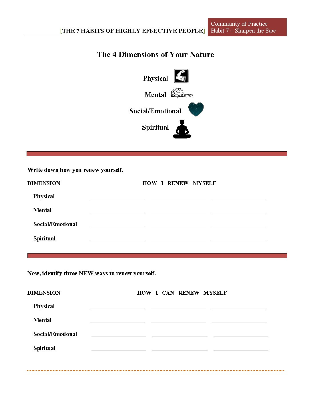 7 Habits Worksheet