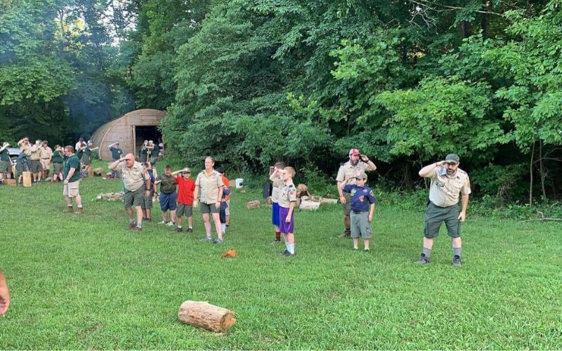 cub scout play skit in garden