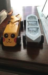 Pikachu racer and canoe