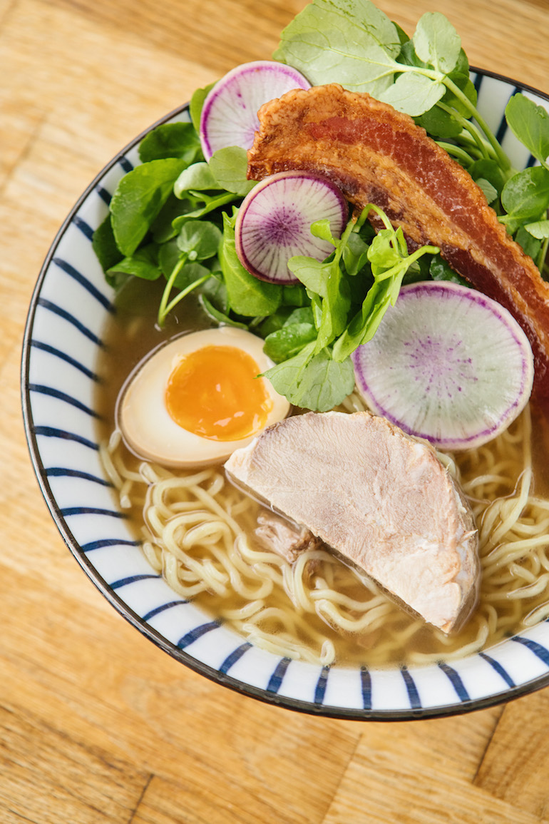 Harvest Community Foods - Ramen with pork shoulder, marinated egg, radish and candied bacon