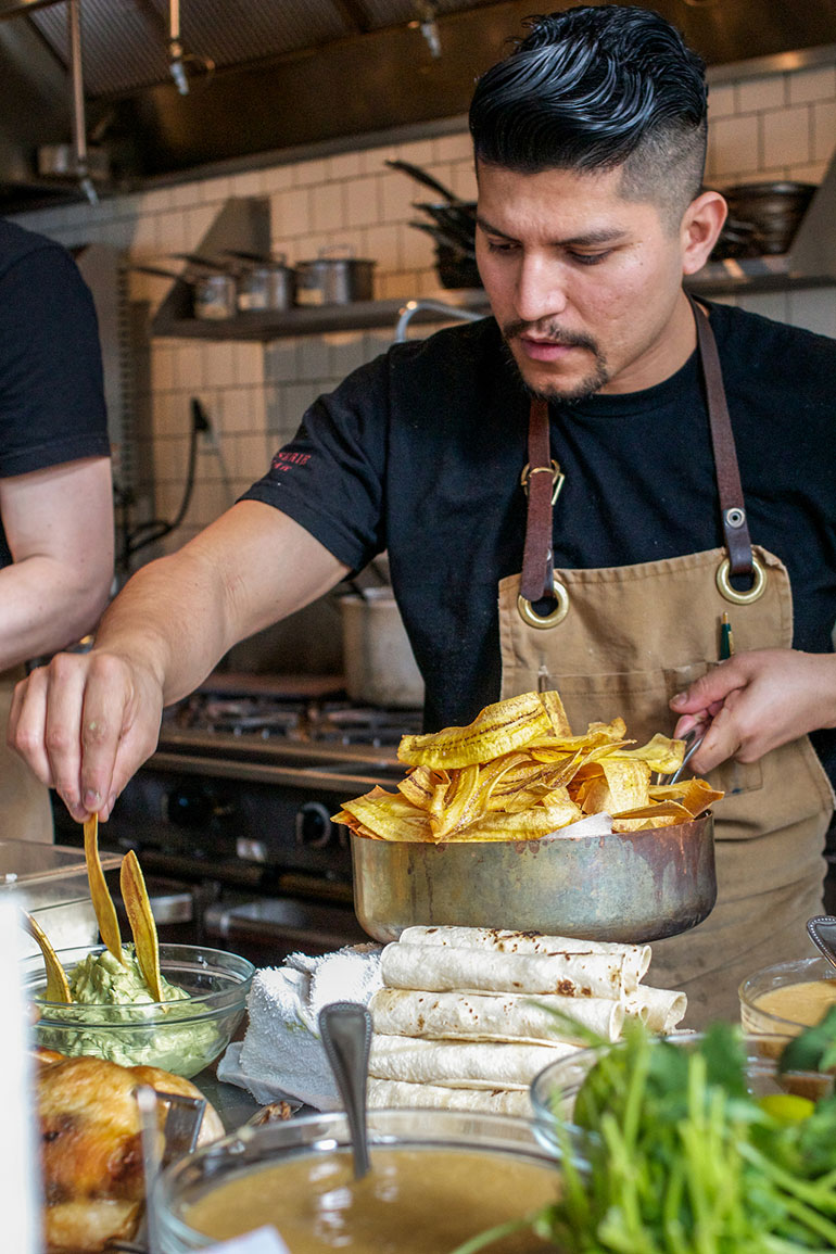 Fresh-plantain-chips-in-the-guacamole