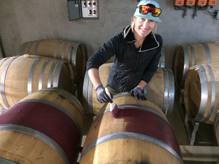 sarah-painting-barrels-with-pn-lees