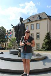 Together 2014: Caitlin knitting in Luxembourg City