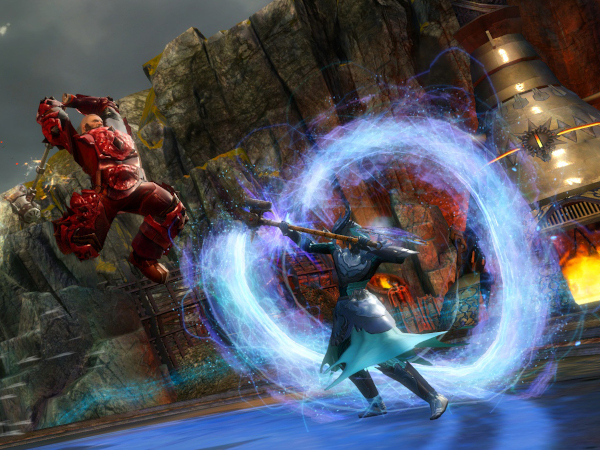 Engineer and Guardian facing off in Guild Wars 2 PVP mode
