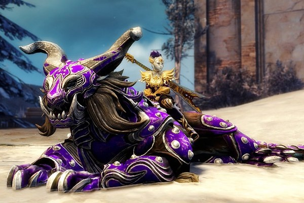 Sylvari riding a reclining GW2 warclaw mount