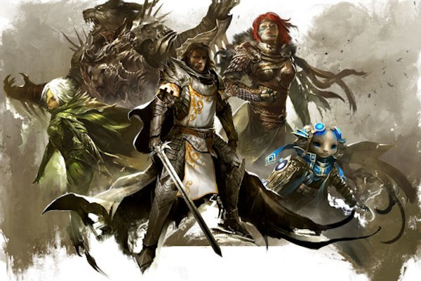 Guild Wars 2 concept art of all five playable races