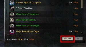 """Guild Wars 2 merchant sell tab with """"Sell Junk"""" button highlighted"""
