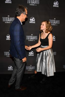 NEW YORK, NY - OCTOBER 03: Titan's Executive Producer Greg Walker (L) and actress Teagan Croft attend DC UNIVERSE's Titans World Premiere on October 3, 2018 in New York City. (Photo by Dave Kotinsky/Getty Images for DC UNIVERSE)