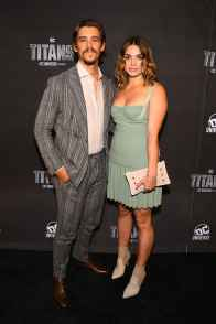 NEW YORK, NY - OCTOBER 03: Actor Brenton Thwaites (L) and Chloe Pacey attend DC UNIVERSE's Titans World Premiere on October 3, 2018 in New York City. (Photo by Dave Kotinsky/Getty Images for DC UNIVERSE)