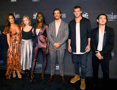 NEW YORK, NY - OCTOBER 03: Titans Cast Members (L-R) Minka Kelly, Teagan Croft, Anna Diop, Brenton Thwaites, Alan Ritchson and Ryan Potter attend DC UNIVERSE's Titans World Premiere on October 3, 2018 in New York City. (Photo by Dave Kotinsky/Getty Images for DC UNIVERSE)
