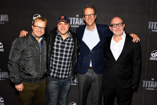 NEW YORK, NY - OCTOBER 03: Titans Executive Producers (L-R) John Fawcett, Geoff Johns, Greg Walker and Akiva Goldsman attend DC UNIVERSE's Titans World Premiere on October 3, 2018 in New York City. (Photo by Dave Kotinsky/Getty Images for DC UNIVERSE)