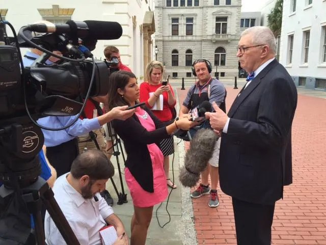 SCPA Attorney Jay Bender meets with the press outside the Charleston County Judicial Center after the Dylann Roof hearing in September 2015.