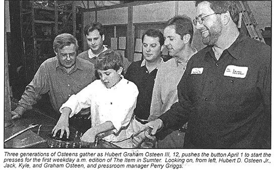 Three generations of Osteen's start the presses of its inaugural morning edition on April 1, 2002.