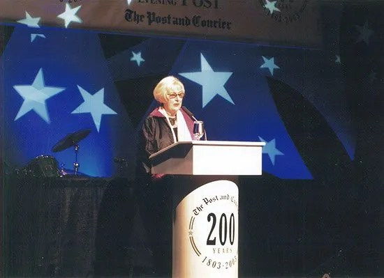 Williams introducing columnist Paul Greenberg, the featured speaker at The Post and Courier's 200th birthday celebration in 2003.