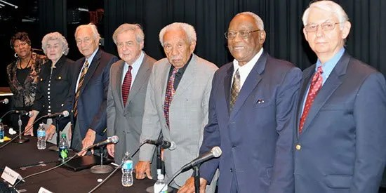Hubert D. Osteen, Jr. joins others in 2011 for a panel discussing the Civil Rights Movement in Sumter. On the panel and pictured was former South Carolina Chief Justice Ernest A. Finney, Jr. and Jack Bass.