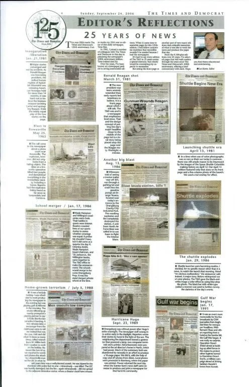"""In """"Editor's Reflections,"""" Harter recalls 25 years of news during the Times and Democrat's 125th anniversary (page one)."""