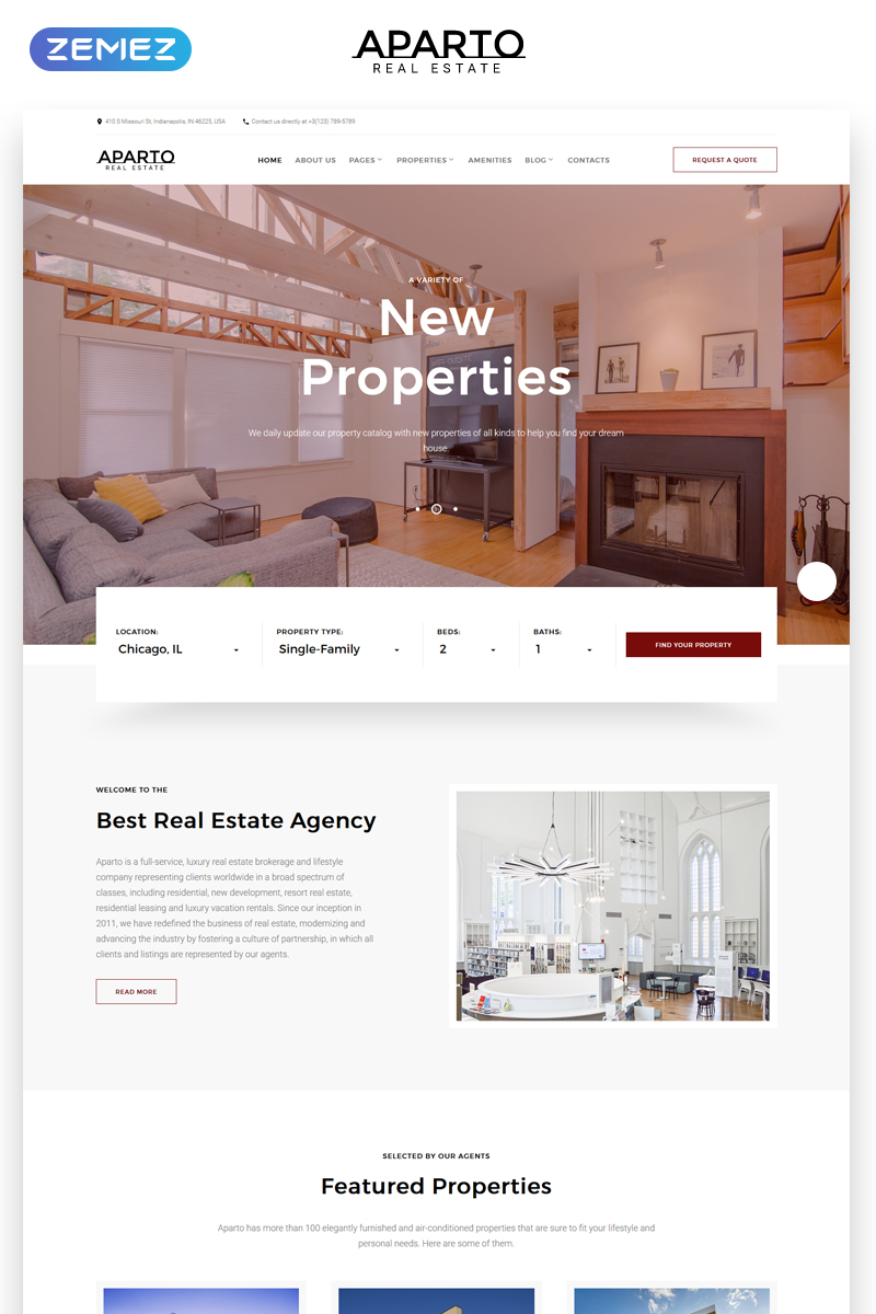 Beautifully style your turnkey real estate agent website with any of these flexible, mobile responsive real estate website templates. Aparto Real Estate Responsive Multipage Html Website Template