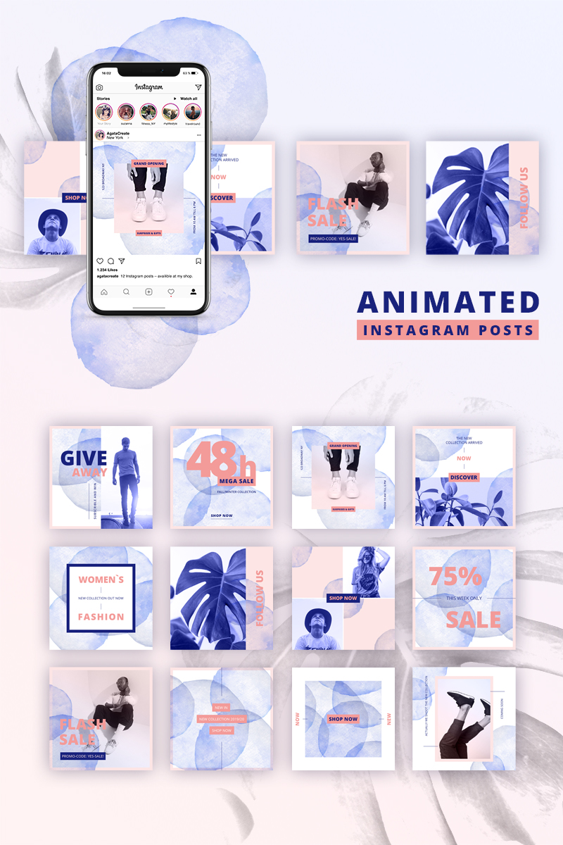 Animated Instagram Posts Water Color Design