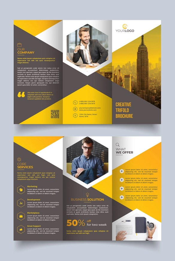 Modern Tri-fold Brochure Design Template - Grey and Yellow Theme