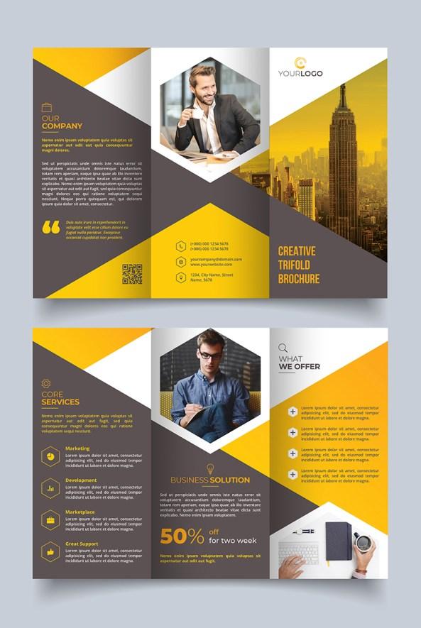 Modern Tri-fold Brochure Design Template - Grey and Yellow Theme