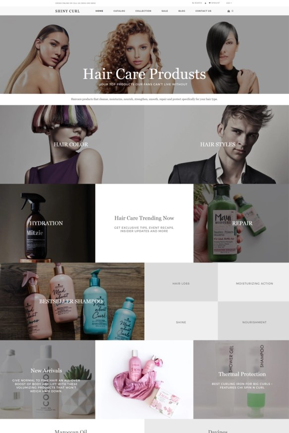 Shiny curl - Hair Care Store E-commerce Modern Shopify Theme