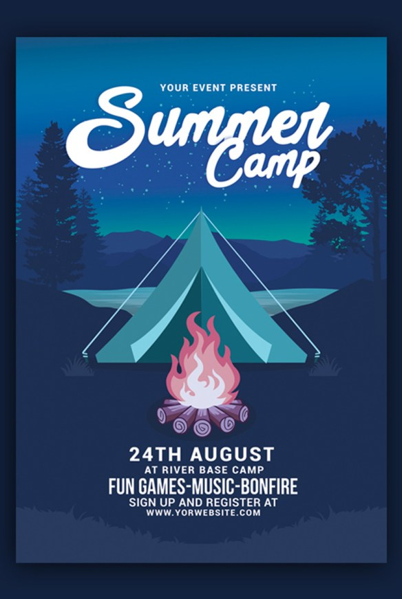 Summer Camp Flyer Template Design