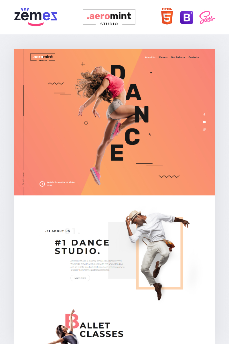Aeromint - Dance Studio Landing Page Template