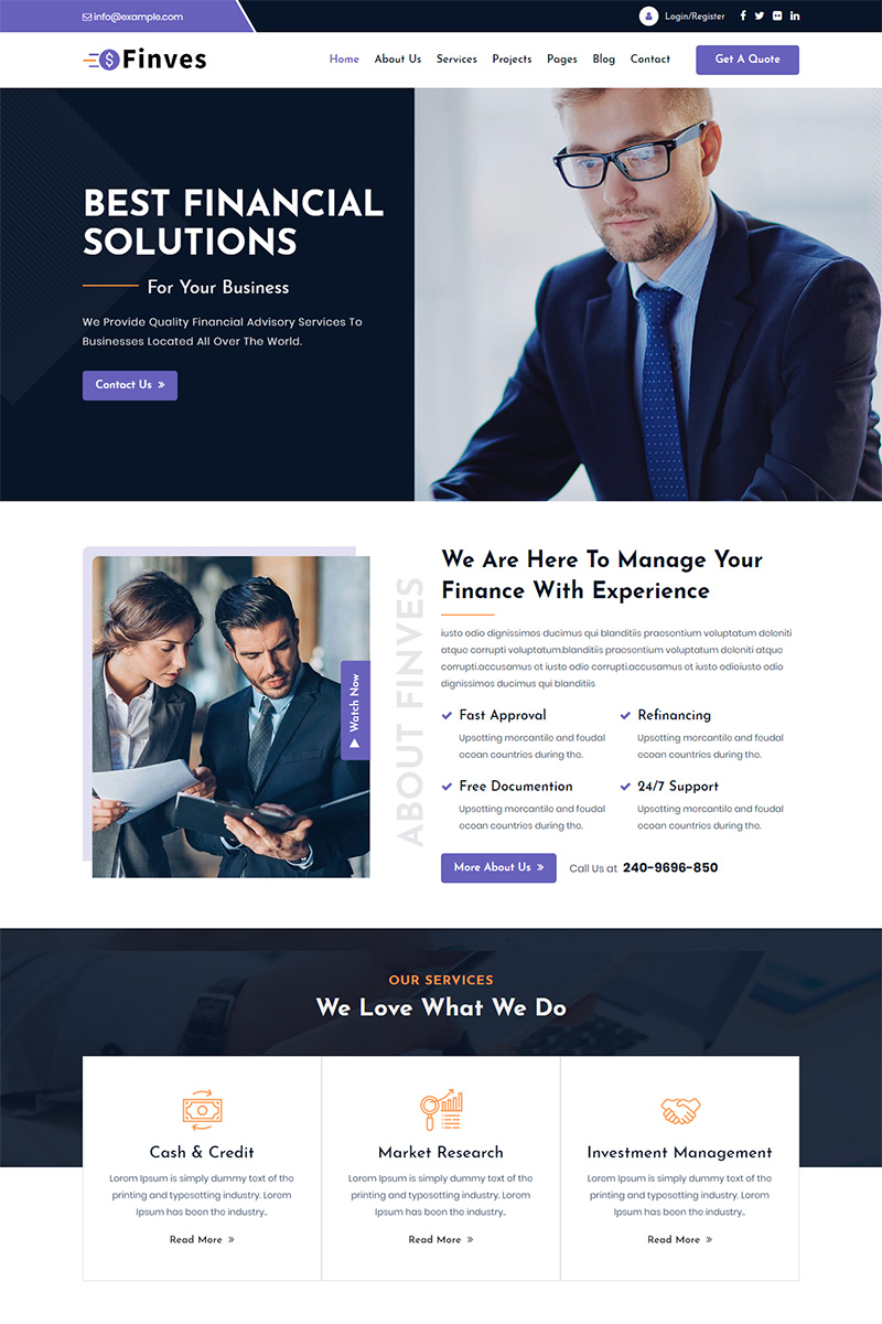 As more americans, especially baby boomers, prepare to navigate the complicated course of retirement, they are increasingly turning to professionals fo. Finves Financial Advisor Responsive Html Website Template