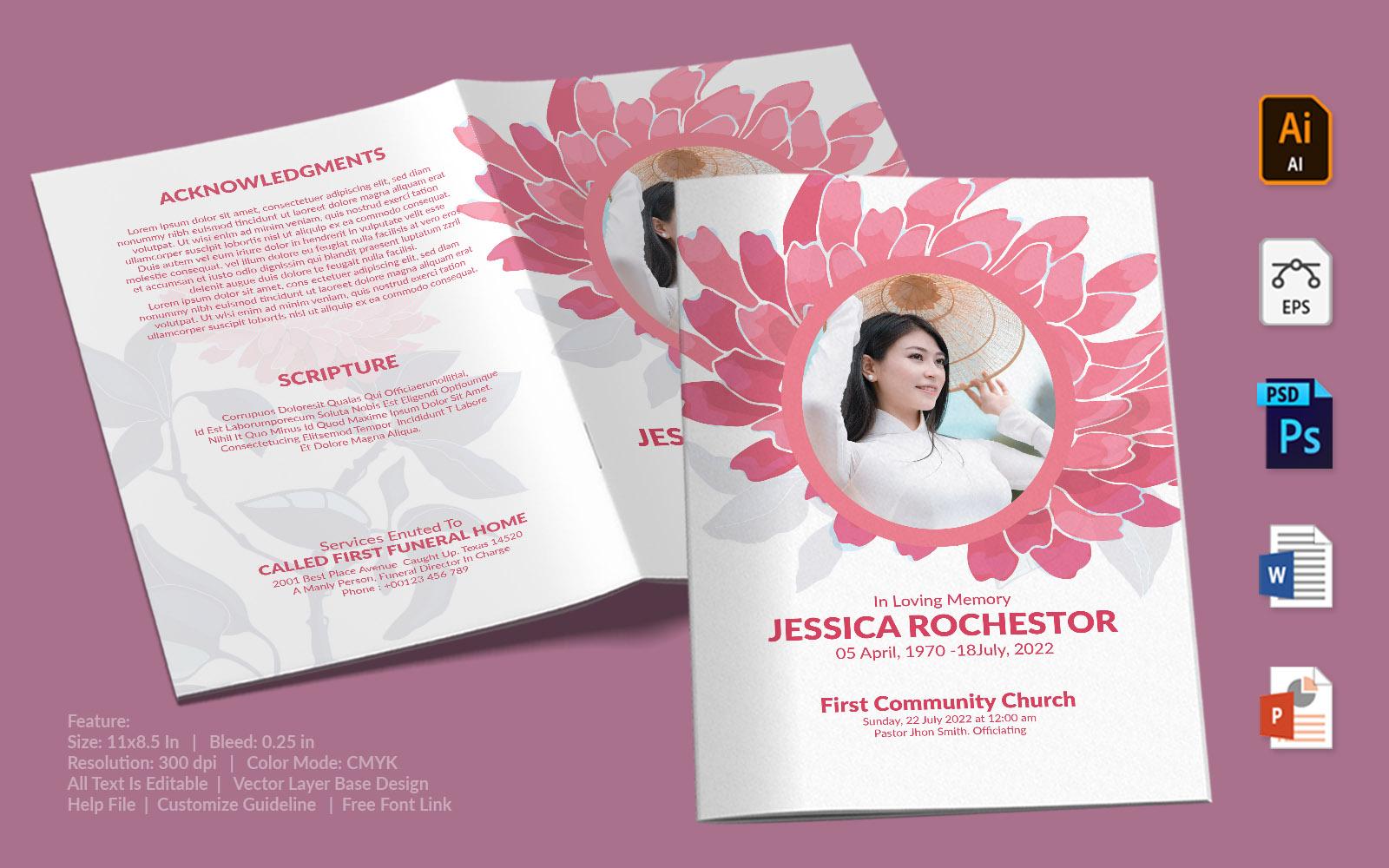 Printable Funeral Program - Illustrated Pink Flower Theme